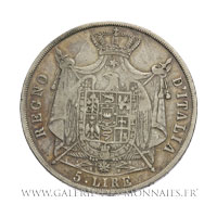 5 LIRE Regno d'Italia, 1814 M Milan, tranche en creux
