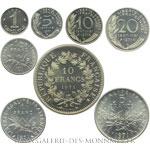 Série complète des piéforts en argent de 1971, 8 exemplaires