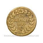 UN DÉCIME Napoléon Ier, 1814 BB Strasbourg, point après la date